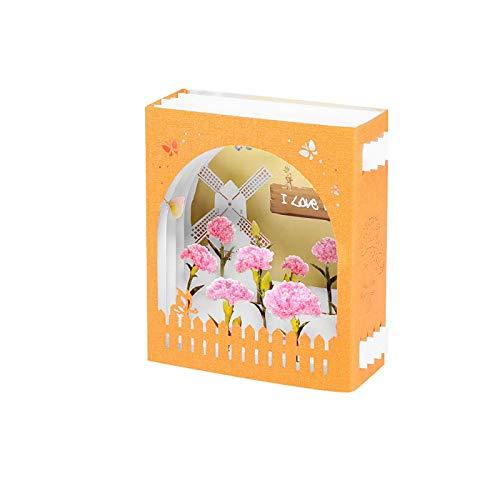 Pop Up Card 3D Muttertagskarten, Blumengrußkarten Handgemachte Geschenkkarte für Jubiläum, Hochzeit, Geburtstag, Weihnachten, Thanksgiving