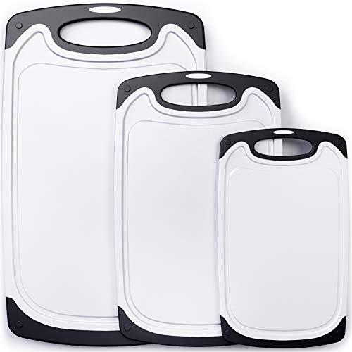 Juego de 3 tablas de cortar de plástico para cocina, aptas para lavavajillas, con ranuras para jugo y asas de fácil agarre, sin BPA, tablas de cortar no porosas para cocina, color blanco