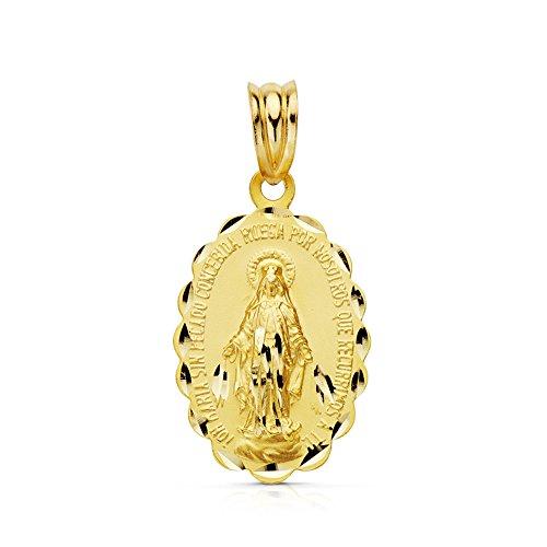 Medalla Virgen Milagrosa en oro amarillo de 9 Ktes 21mm