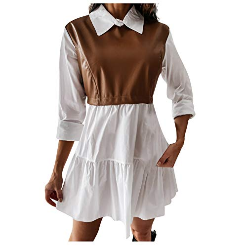 Damen lässig Mode Hemd Kragen Kleid Farbe passend Revers Damen Kleid Langarm Lederkleid Damen Elegant Ballkleid Damen(Braun,M)