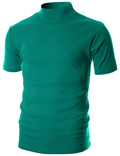 OHOO Mens Slim Fit Flice Short Sleeve Pullover Lightweight Mockneck/DCT105-TURQUOISE-XL
