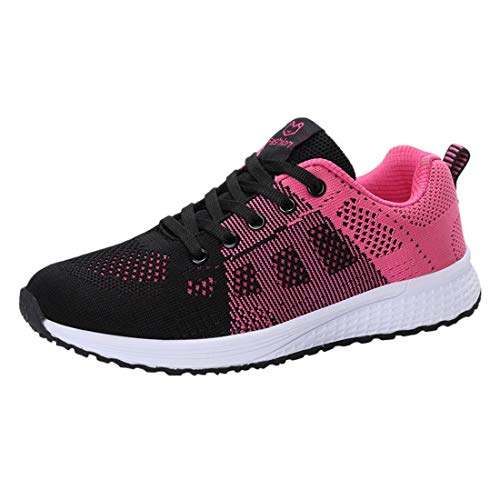 Women Lace-Up Running Shoes Student Leisure Flying Weaving Breathable Non-Slip Sneakers College Style (Pink, 5-Women-US)
