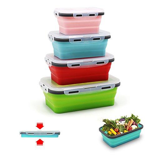 qimh 4 Pack Flat Stacks klappbar Frischhaltedosen, Silikon Faltbare Lunch Bento Box (B-4)