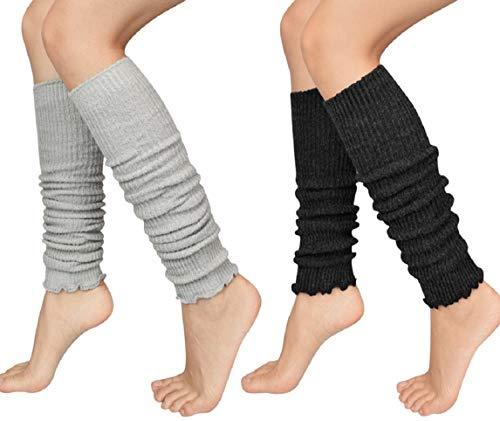 Tuopuda Stulpen Damen 1 oder 2 Paar Legwarmer Stiefel Stulpen Beinstulpen Mädchen Beinwärmer Overknee Stiefeletten Socken Tanzen Strumpf Grobstrickstulpen Warme Füße