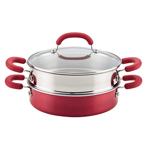 Rachael Ray Create Delicious Nonstick Multi-Pot/Steamer Set, 3 Piece, Red Shimmer