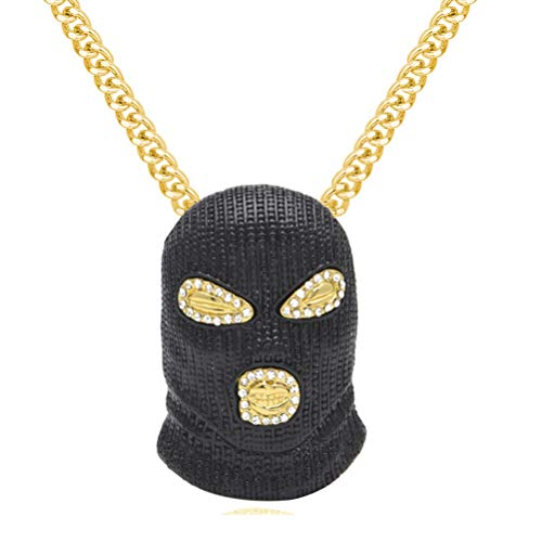 Nsitbbuery Hip Hop Nightclub Bars Plated Alloy Iced Out Mask Pendant Cuban Chain Necklace
