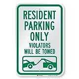 SmartSign 'Resident Parking Only, Violators Towed' Sign | 12' x 18' 3M Engineer Grade Reflective Aluminum