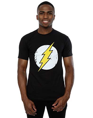 DC Comics, maglietta da uomo con logo di Flash Black Medium