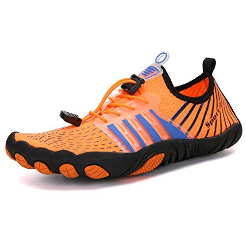 Qier Zapatos De Agua,Unisex Verano De Secado Rápido Transpirable Antideslizante Yoga Fitness Zapatos,Al Aire Libre Playa Pesca Natación Surf Agua Zapatos,Naranja,9