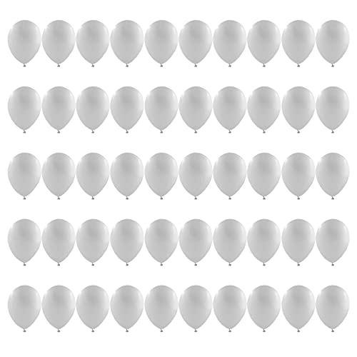 50 Piezas Multicolores Globos Blancos Globos de Látex 30cm 12 Pulgadas Decohelium para Bodas, Fiestas de Cumpleaños y Decoración(Blancos )