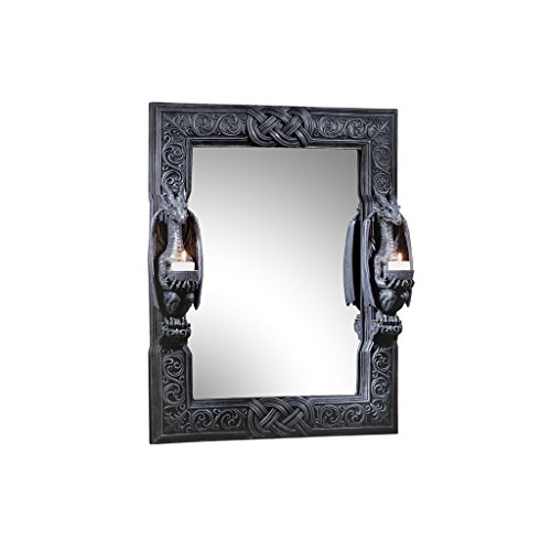 Design Toscano CL2429 Thorne Twin Sentinal Dragons Gothic Decor Wall Mirror Sculpture with Candle Holders, 24 Inch, Black