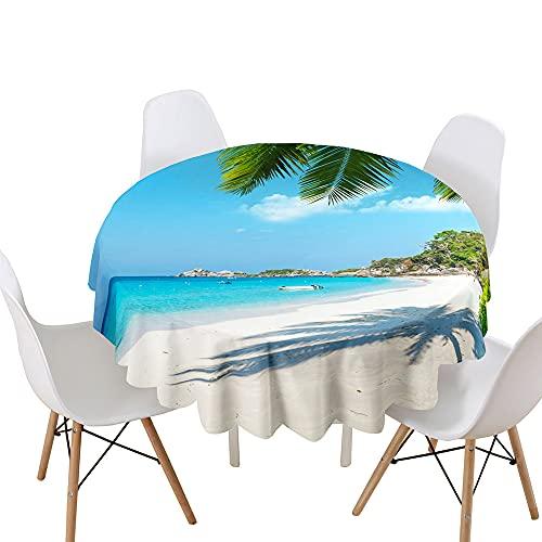 Highdi Impermeable Mantel de Redondo, 3D Ondas impresión Antimanchas Lavable Manteles Moderno Decoración para Salón, Cocina, Comedor, Mesa, Interior y Exterior (Paisaje Verano,Diámetro 160cm)