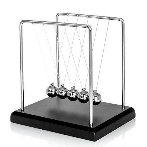 Classic Newtons Cradle Balance Balls with Black Wooden Base Fun Science Physics Learning Desk Toys Fun Gadget Pendulum for Office and Home Decoration-Small Black4