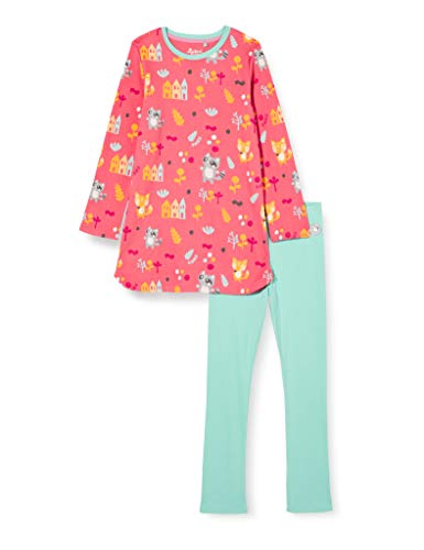 Sigikid Mini-Mädchen Pyjama 2-Teilig aus Bio-Baumwolle, Größe 086-128 Juego de Pijama, Rojo y Azul, 98 cm para Bebés