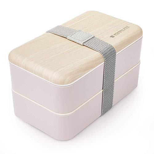 Thousanday Fiambrera Bento Bambú Rosado | Apilable Design con 2 Cubiertos | Bento Box 2 Compartimentos Estancos 1200 ml | Microondas y Lavavajillas | Bento Box Adultos o Niños