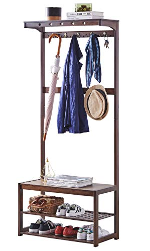 SEIRIONE Bamboo Coat rack Shoe Bench 5 In 1 Design Hall Tree Entryway Shelf 10 Hooks 1 Top ShelfEasy Assembly Vintage