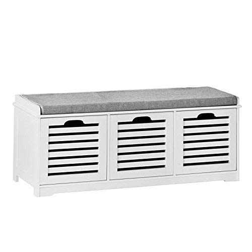 Haotian FSR23-W, Storage Bench with 3 Drawers & Padded Seat Cushion, Hallway Bench Shoe Cabinet Shoe Bench,White
