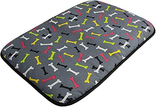 Acomoda Textil - Cama para Perros de Tela, Cama Perros Antideslizante y Lavable. Colchoneta Mascotas para Transportín y Hogar. (90x65, Huesos)