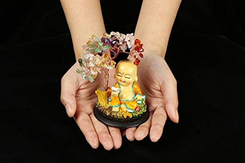 Crystal Money Tree with Resin Base, Feng Shui Wealth Money Tree with Cute Monk, Buddha Statue Crystal Money Tree Lucky Tree For Home Offic (7 color)