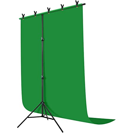 Hemmotop T-Shape Portable Background Backdrop Stand Kit 5x6.5ft with Photography Green Muslin Background Screen and 5 Clip Clamps,for Photo Video Studio