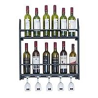 壁に取り付けられた金属の鉄のワイン・ボトルの棚およびガラスホールダー、 2層 収納棚の壁の装飾 - ブラック