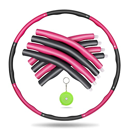 Awroutdoor Hula Hoop Professionale, Hula Hoop Adulti Fitness per Design Staccabile a 8 sezioni,Hula Hoop Dimagrante con Mini Metro a Nastro Adatto ai Adulti e Bambini-Rosa