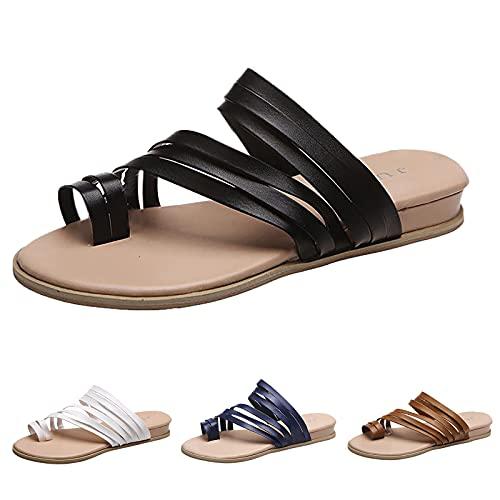Chaussures Sandales Fille 26 Black Mules Shoes for Women Sandals Bout Rond Boucle Uniforme Détente Extérieur Robe Tendance Tennis Chaussures Plates Femme Sexy(Marron 38)