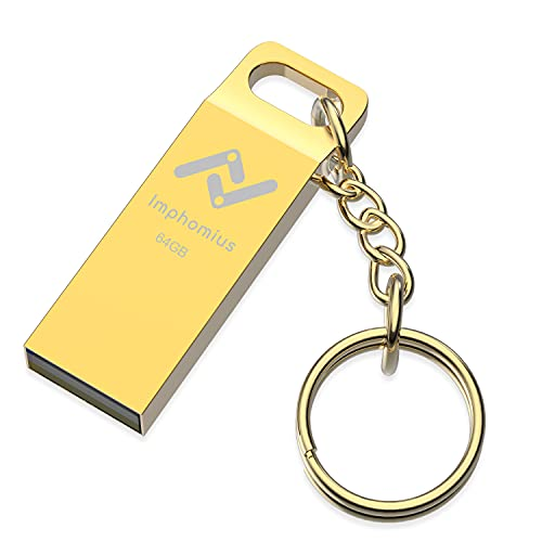 Imphomius 64GB Metal exFAT USB 2.0 Flash Drive with Keychain Waterproof and Dustproof Thumb Drive Memory Stick 64 GB Jump Drive for Storage and Backup, Gold
