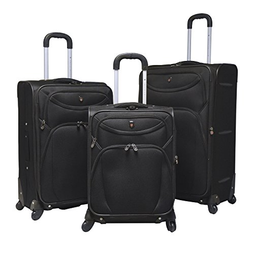 Travelers Club Marina 3-Piece Expandable Softside Spinner Value Set, Black