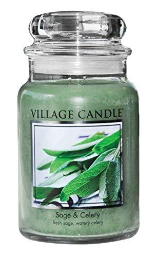 Village Candle Salbei und Sellerie große Duftkerze im Glas, 737 g, grün, 9.8 x 9.5 cm