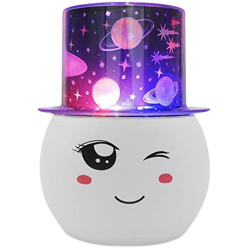 Cikuso Night Lampada Di Illuminazione, Proiettore un Luce Rotante un Stella Colorata, Notturno Stellato, con Pellicola Sostituibile,Per Bambini Camera Da Letto per Bambini, Compleanno
