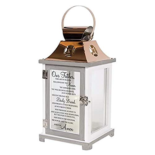 Carson Home Accents Indoor Outdoor Our Father Memorial Sympathy Copper Candle Lantern for Loss of Loved One with Automatic 6 Hour Timer and Calligraphy