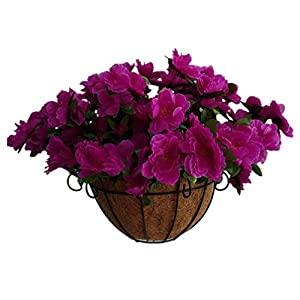 Bo Lala Purple Nordic Style Silk Azalea Flower Wall Decoration Hanging Rhododendron Iron Baskets Flowers