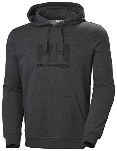 Helly Hansen Hh Logo Hoodie Sudadera con Gorro, Hombre, Negro (Ebony Melange), S