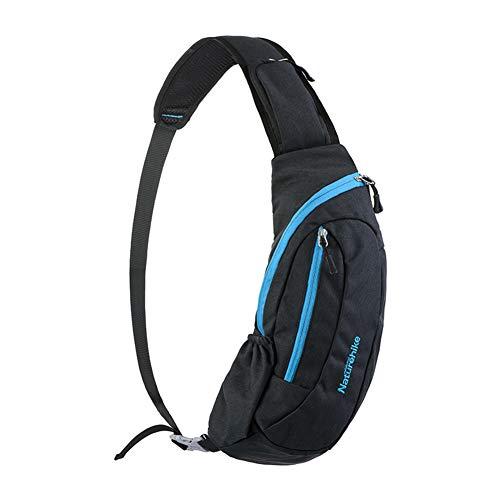 Naturehike Sac à Bandoulière Léger Unisexe Sling Bag, Imperméable Multifonctionnel Sac D'épaule pour Shopping Sports (Noir + Bleu)