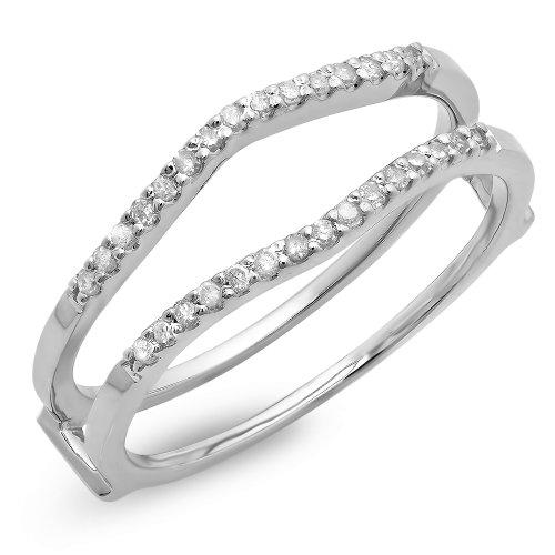 Dazzlingrock Collection 0.18 Carat (ctw) 10K Round Diamond Ladies Wedding Enhancer Double Ring, White Gold, Size 7