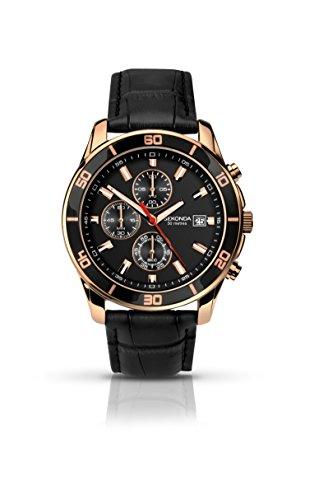 SEKONDA 1051 - Reloj de Cuarzo para Hombres, Correa de Acero Inoxidable, Color Negro