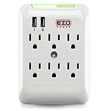 Wall Power Strip EZOPower 6 AC Outlet Mount Plate Surge Charge Protector with 2 USB Charger Ports 2.4A (UL Certified)