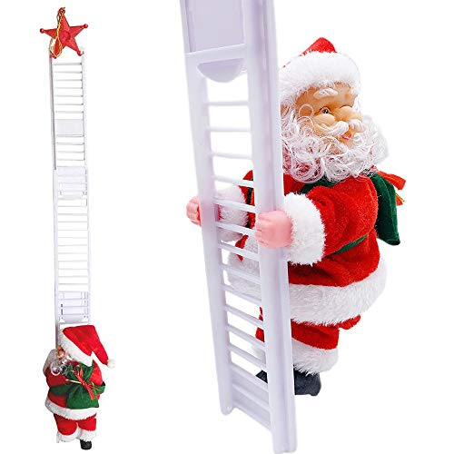 ZoneYan Santa Climbing Ladder, Electric Climbing Santa Claus, Outdoor Climbing Santa, Xmas Doll With Music for Hanging Ornament Tree Indoor Outdoor Holiday Party Home Door Wall Decoration