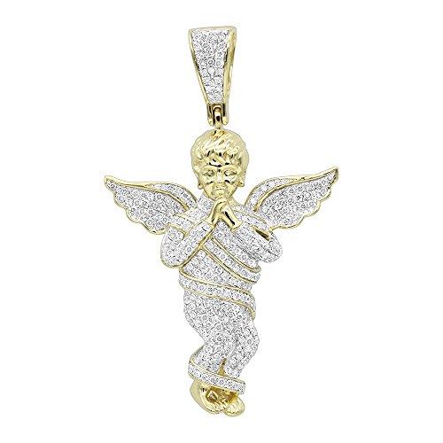 Mens 10K Rose, White or Yellow Gold Diamond Baby Angel Pendant 1.3ctw (Yellow Gold)