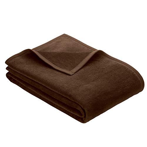 Ibena Porto Kuscheldecke 150x200 cm - Wolldecke dunkelbraun einfarbig, pflegeleichte Baumwollmischung, kuschelig weich und angenehm warm