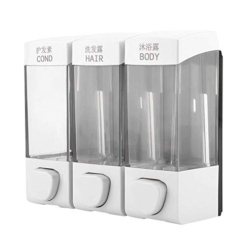 3-Chamber Soap and Shower Dispenser Wall Mounted Liquid Lotion Shampoo Dispenser Set Bathroom Accessories White 1050ml