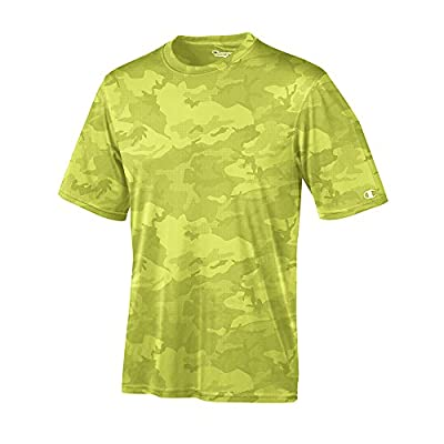 Champion Men's Essential Double Dry Tee_Safety Green Camo_XL from