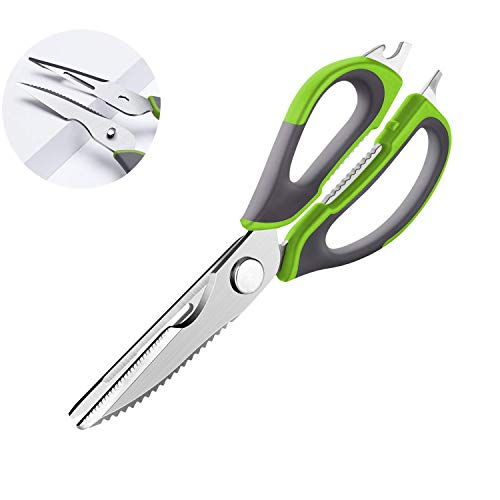 Kitchen Scissors, Multipurpose Utility Stainless Steel Kitchen Shears Upgraded Sharp Blade Heavy Duty Cooking Scissors with Cover for Poultry Bones, Fish, Meat, Herbs, BBQ, Nuts (Dishwasher Safe)