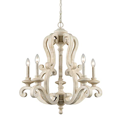 CLAXY Rustic Wooden Chandelier American Country Cottage Style 5 Light Candelabra Fancy Chandeliers