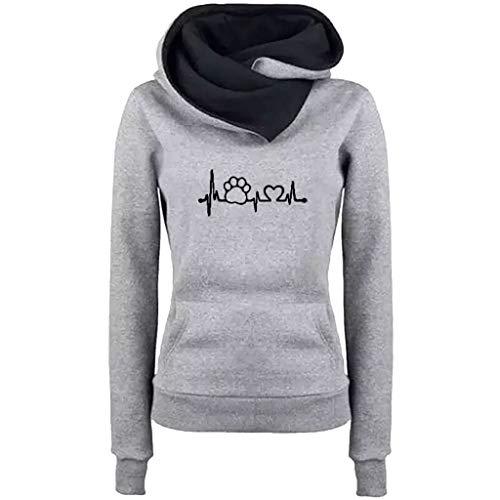 iYmitz Damen Herbst und Winter Beiläufig Hoodies Farbe Sweatshirt Reiner Blusen-Pullover(A-Grau,3XL)