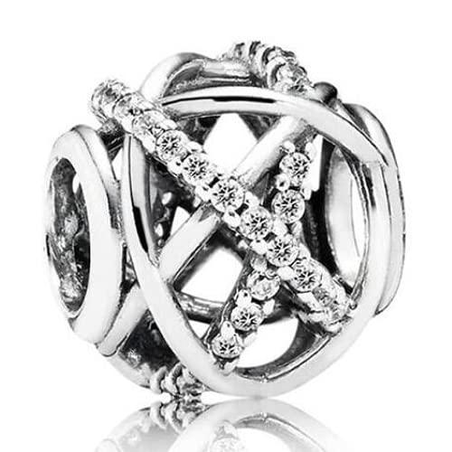 ZHANGCHEN Damska bransoletka i naszyjnik ze srebra próby 925, błyszczące, ażurowe, urok galaktyki, biżuteria do samodzielnego wykonania