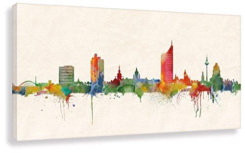 Druck auf leinwand Stencil Graffiti - Bild Leipzig Skyline Paul London! Bild fertig auf Keilrahmen !Kunstdrucke, Wandbilder, Bilder zur Dekoration (40x80cm)