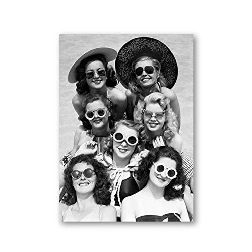 AZTeam Hermosas Mujeres Foto Antigua Lienzo Cartel Vintage Playa Gafas De Sol Pintura Impresiones Pared Arte Decoración Impresión En Lienzo-50X75Cm Sin Marco