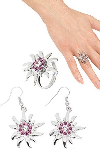 Karneval-Klamotten Ring Ohrringe Oktoberfest Schmuck Ohrringe Ring Set rosa Silber Oktoberfest Damen Karneval